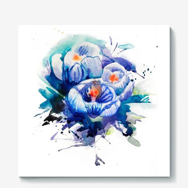 Холст «Акварельные голубые цветы»