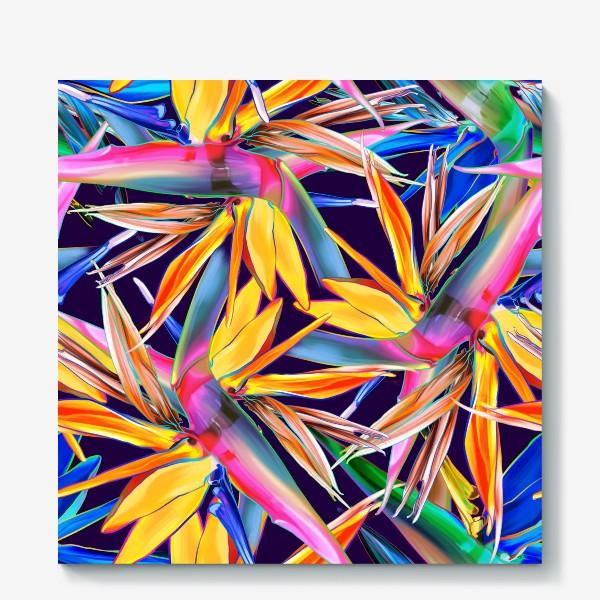 Холст «Тропические цветы, стрелиция»
