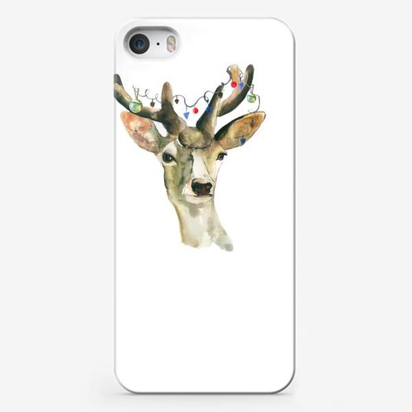 Чехол iPhone «Лось новогодний »