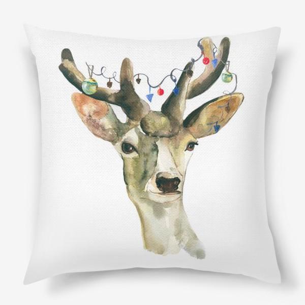 Подушка «Лось новогодний »
