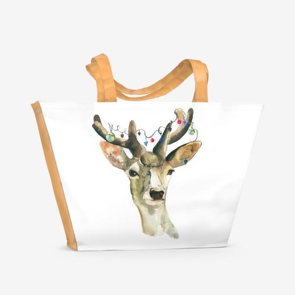 Пляжная сумка «Лось новогодний »