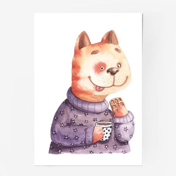 Постер «Кот с вафелькой»