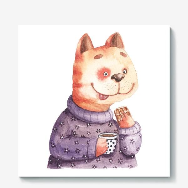 Холст «Кот с вафелькой»