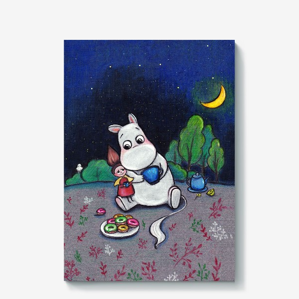 Холст «Ночное чаепитие с Муми-троллем»