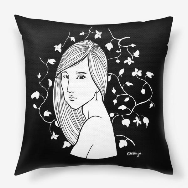 Подушка «Девушка в цветах, черное»