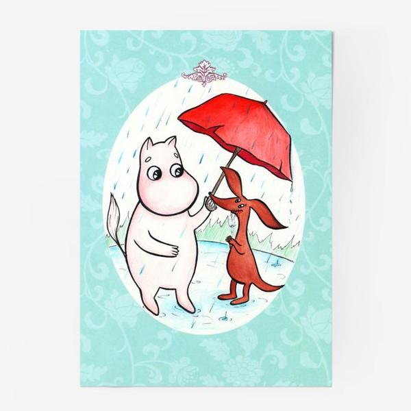 Постер «Муми-тролль и дождь»