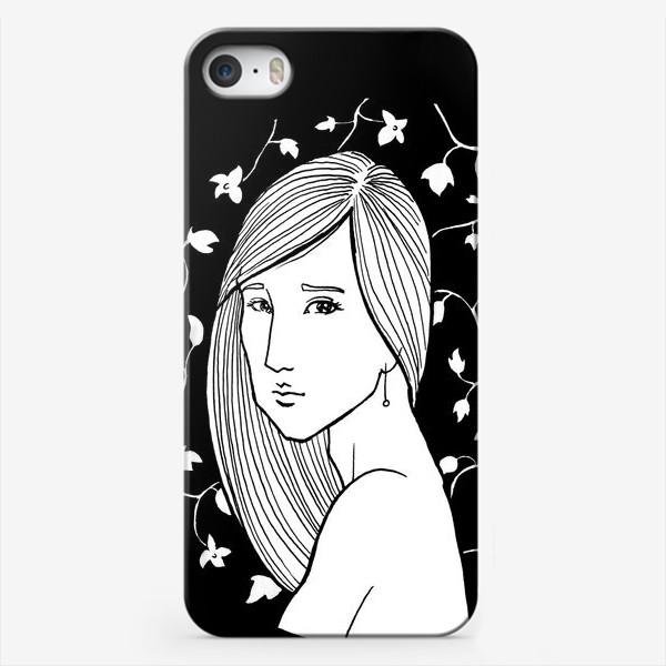 Чехол iPhone «Девушка в цветах, черное»