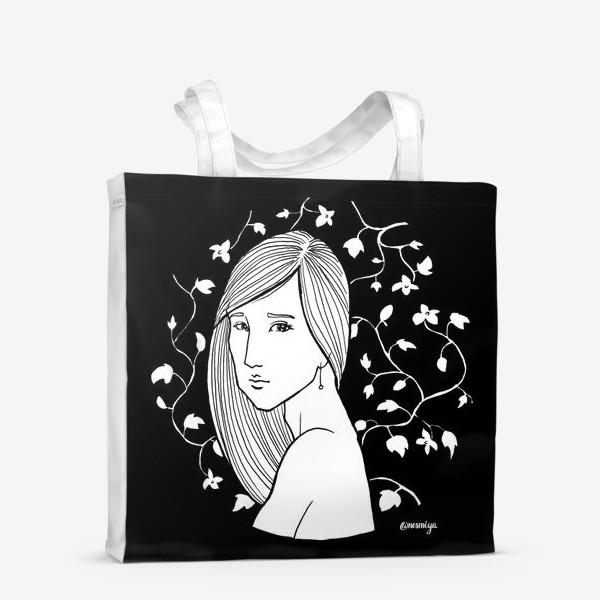 Сумка-шоппер «Девушка в цветах, черное»
