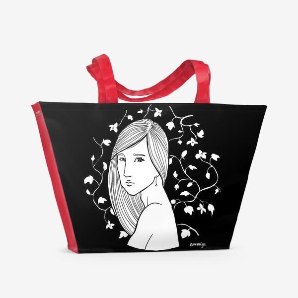 Пляжная сумка «Девушка в цветах, черное»