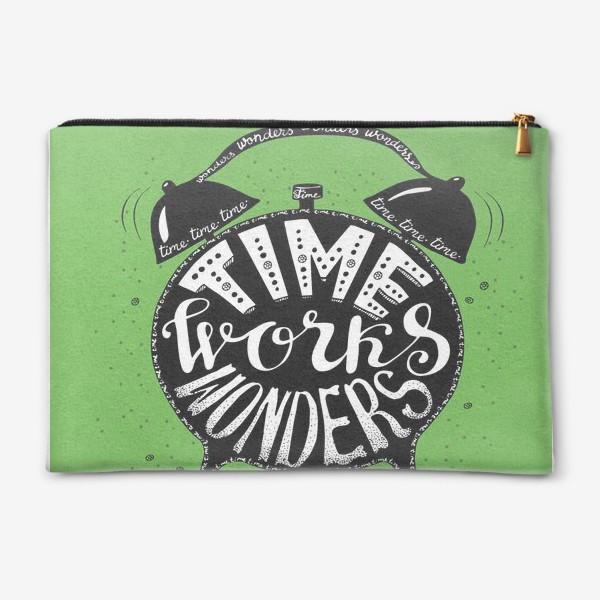 Косметичка «Будильничек на зеленом»