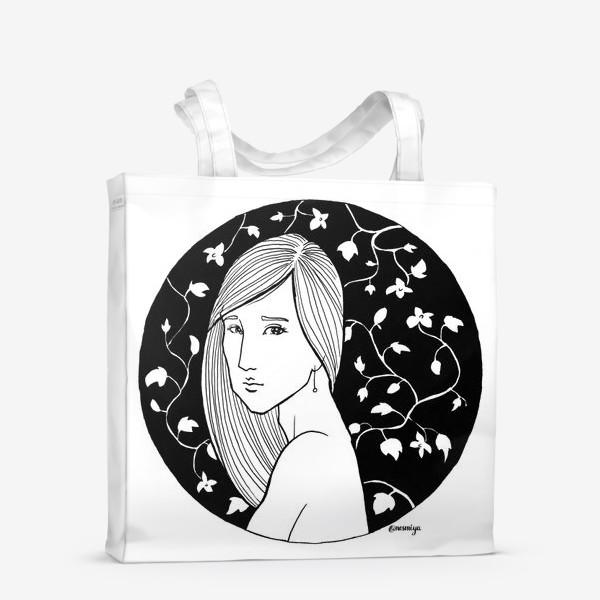 Сумка-шоппер «Девушка в цветах, белое»