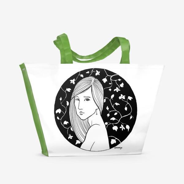 Пляжная сумка «Девушка в цветах, белое»