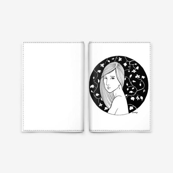 Обложка для паспорта «Девушка в цветах, белое»