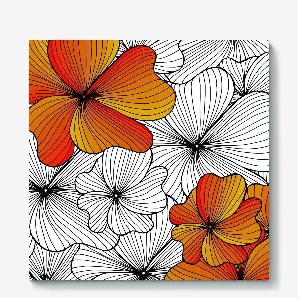 Холст «Осенние оранжевые цветы»