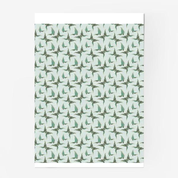 Постер «Бабочки. Зеленый паттерн»