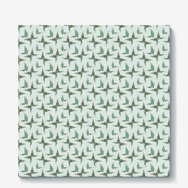 Холст «Бабочки. Зеленый паттерн»