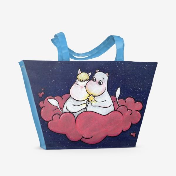 Пляжная сумка «Муми-тролли на облаке»