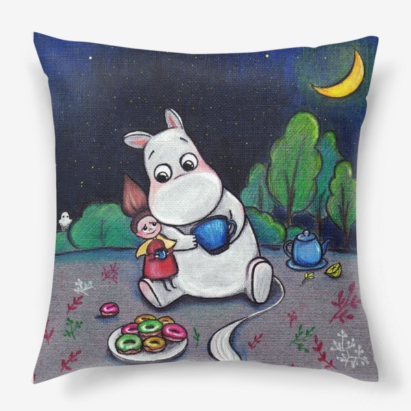 Подушка «Ночное чаепитие с Муми-троллем»
