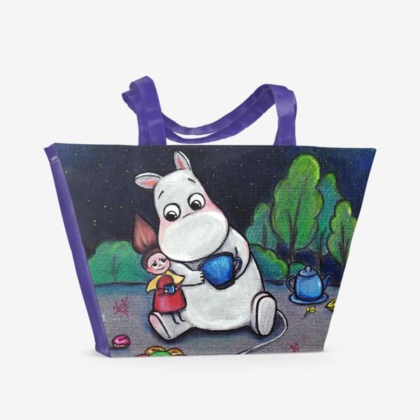 Пляжная сумка «Ночное чаепитие с Муми-троллем»