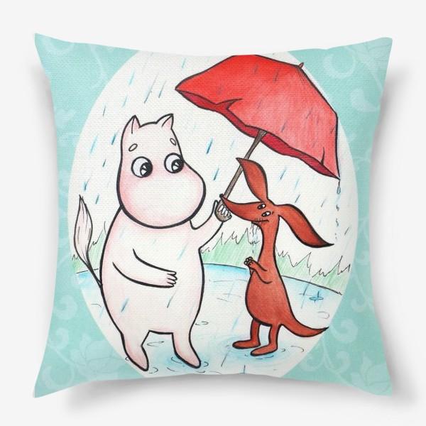 Подушка «Муми-тролль и дождь»