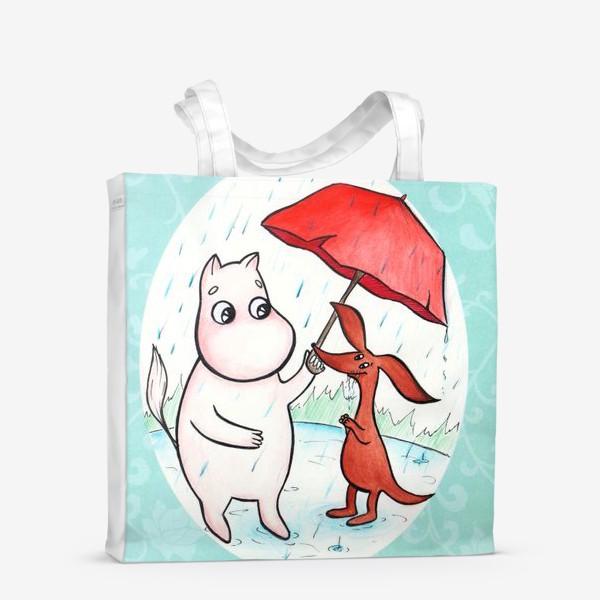 Сумка-шоппер «Муми-тролль и дождь»