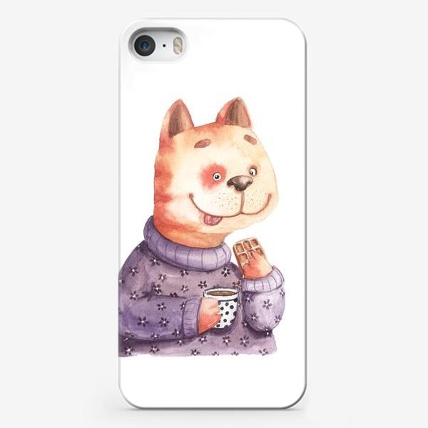 Чехол iPhone «Кот с вафелькой»