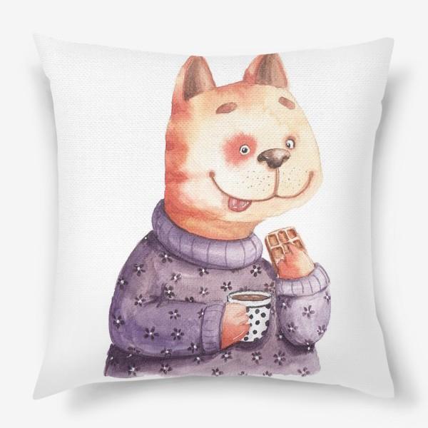 Подушка «Кот с вафелькой»