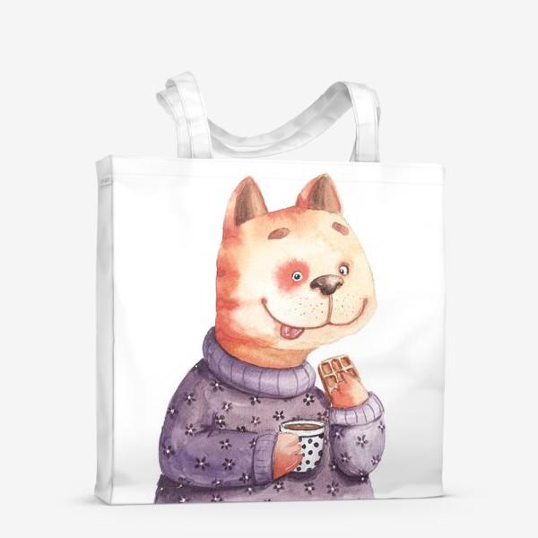 Сумка-шоппер «Кот с вафелькой»