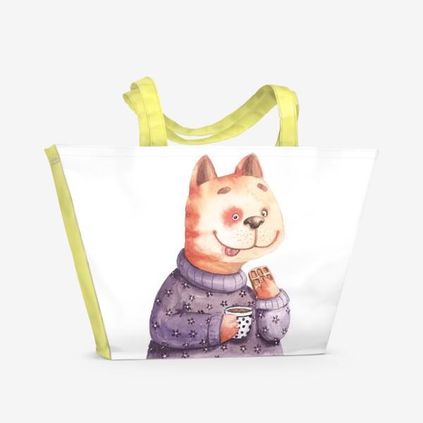Пляжная сумка «Кот с вафелькой»