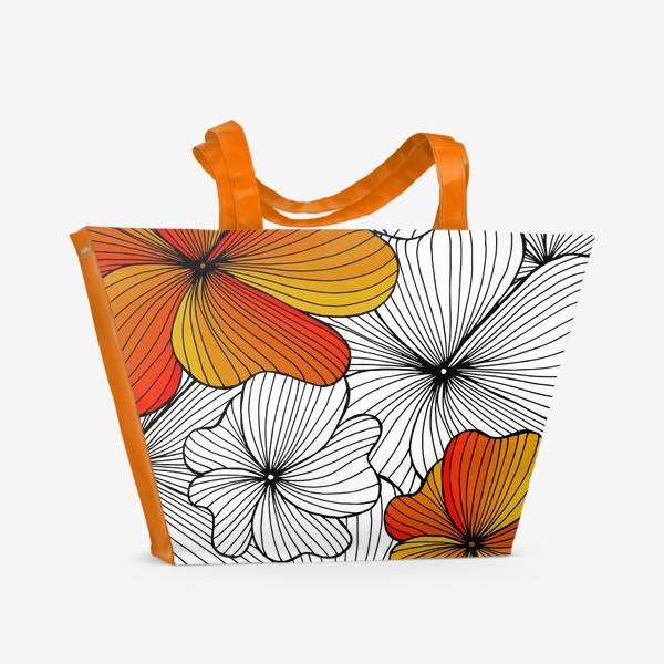 Пляжная сумка «Осенние оранжевые цветы»