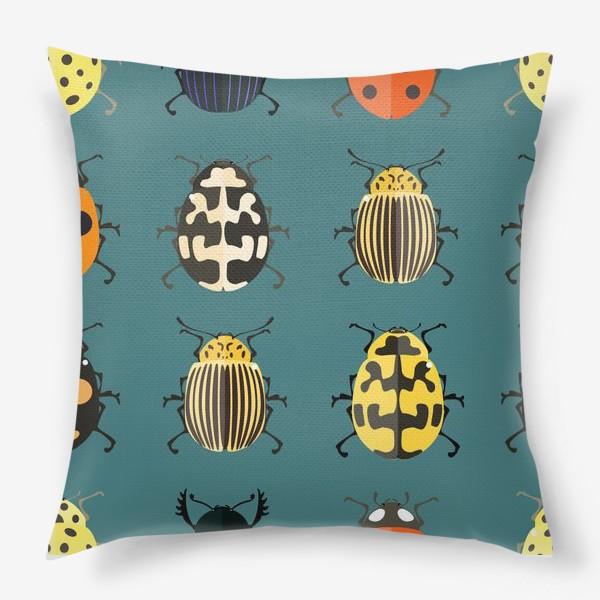 Подушка «Цветные жуки»