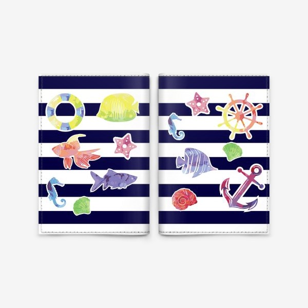 Обложка для паспорта «В мире морском 2»