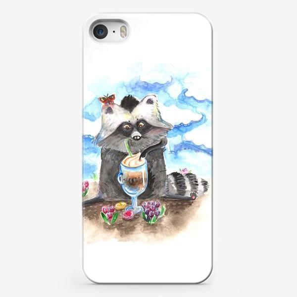 Чехол iPhone «Енотовидная собака и латте»