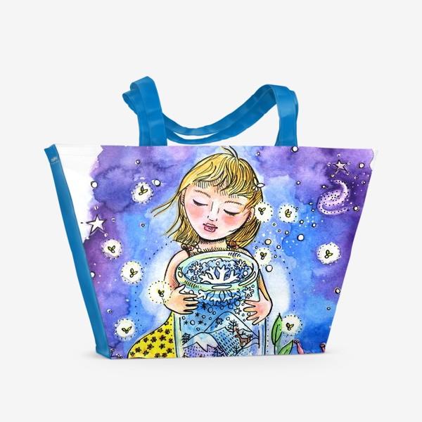 Пляжная сумка «Девочка и зима в банке»