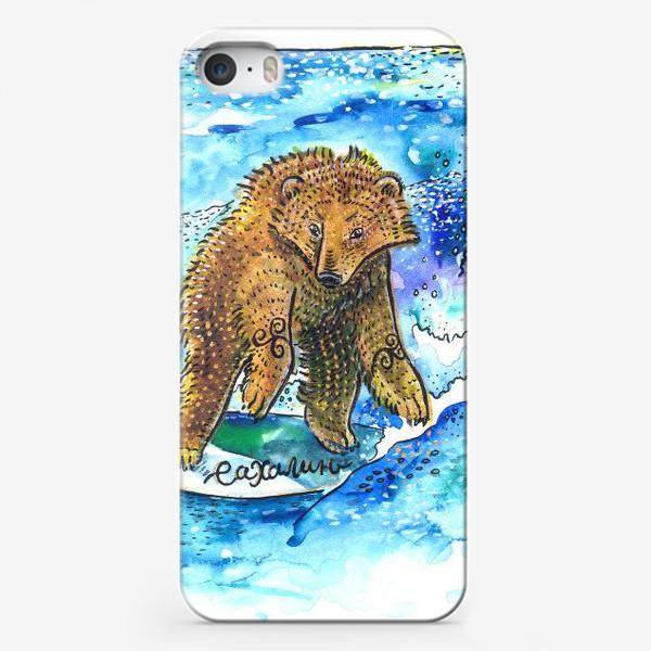 Чехол iPhone «Медведь на серфе»