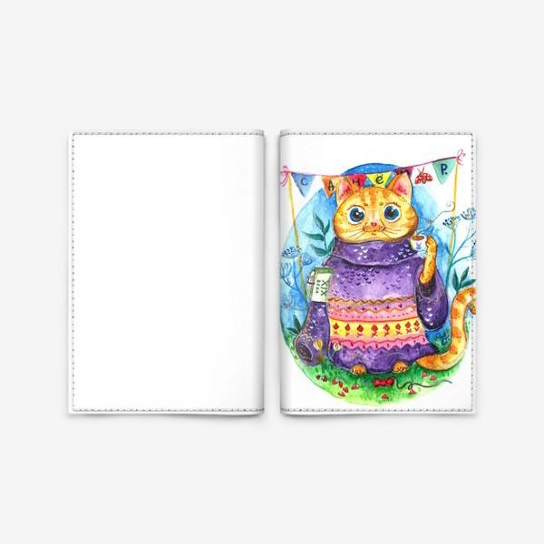 Обложка для паспорта «Кошка с кофе»