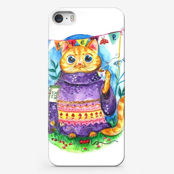 Чехол iPhone «Кошка с кофе»
