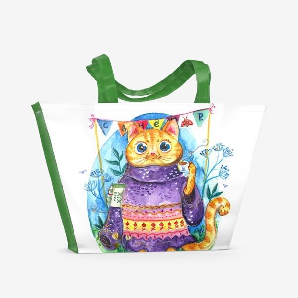 Пляжная сумка «Кошка с кофе»