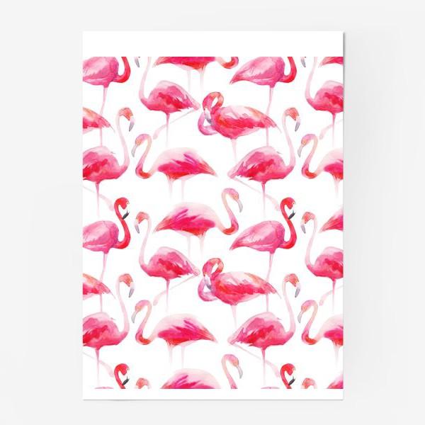 Постер «Розовые акварельные фламинго »