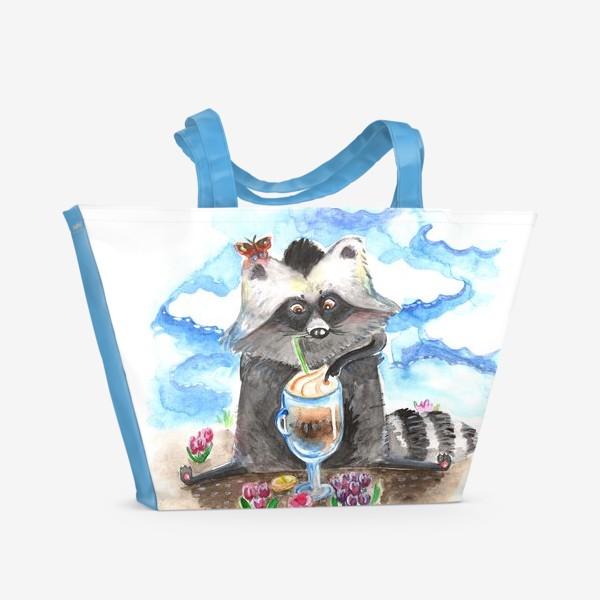 Пляжная сумка «Енотовидная собака и латте»