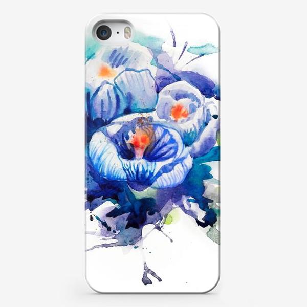 Чехол iPhone «Акварельные голубые цветы»