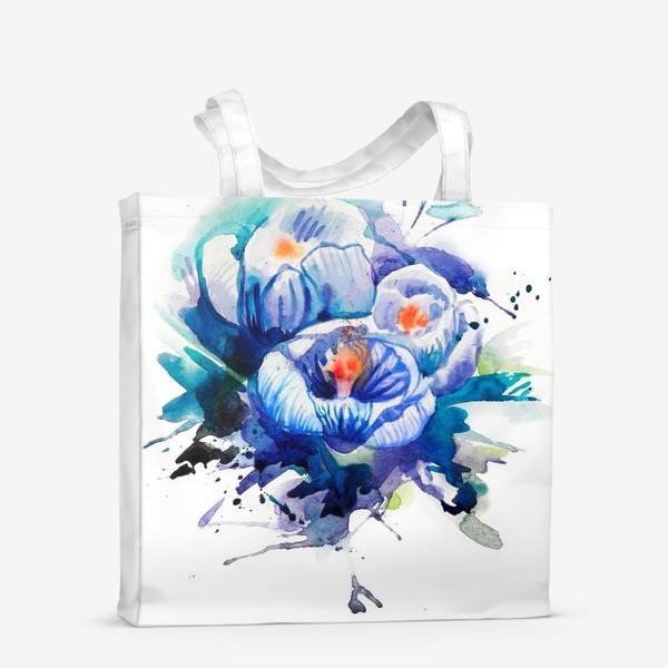 Сумка-шоппер «Акварельные голубые цветы»