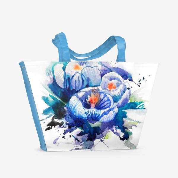 Пляжная сумка «Акварельные голубые цветы»