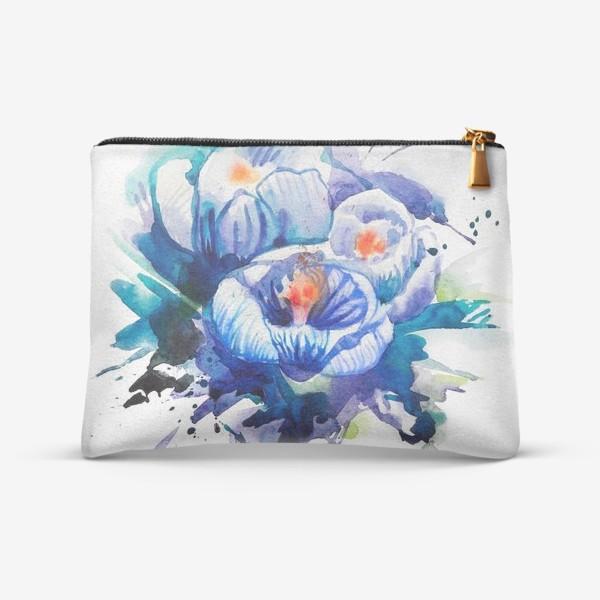 Косметичка «Акварельные голубые цветы»