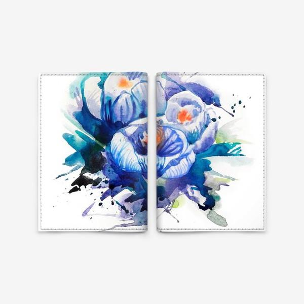 Обложка для паспорта «Акварельные голубые цветы»