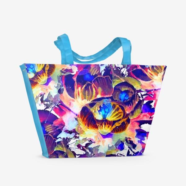 Пляжная сумка «Абстрактная акварельная текстура»
