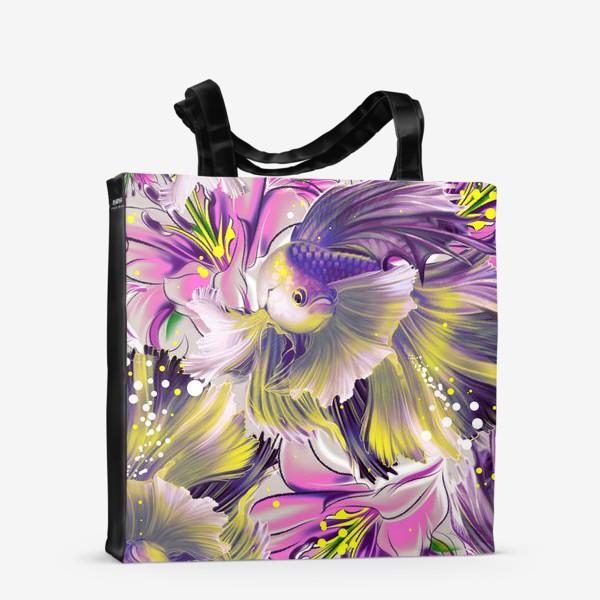 Сумка-шоппер «Текстура с рыбками и лилиями»