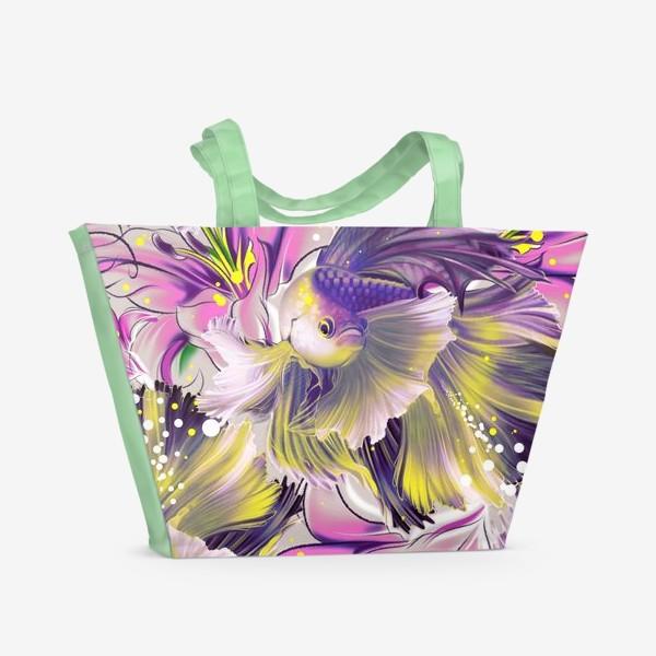 Пляжная сумка «Текстура с рыбками и лилиями»