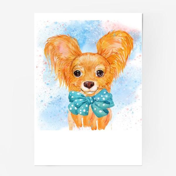 Постер «собака той-терьер.акварель»