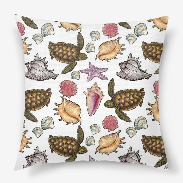 Подушка «Черепаха и ракушки»